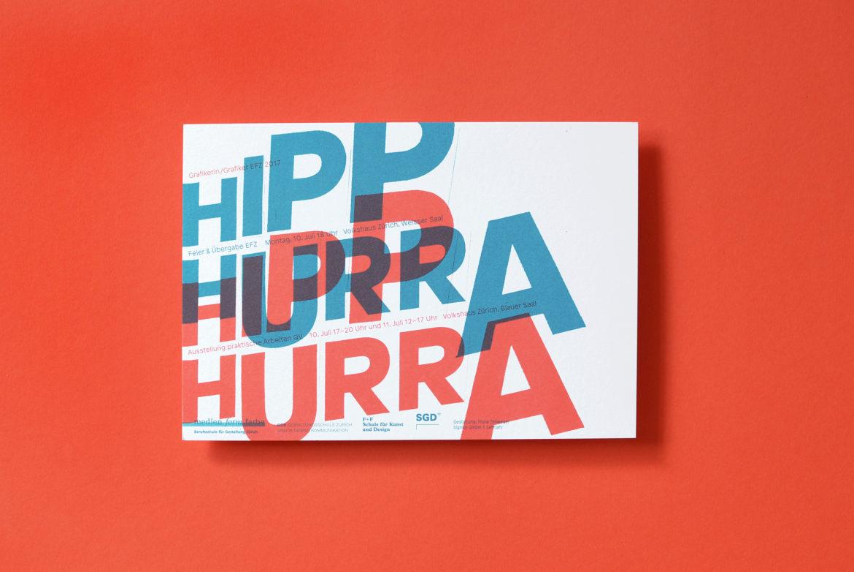 Postkarte mit der Aufschrift Hurra